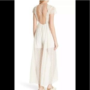 Free People Jumpsuit Lace Crochet Embroidery L